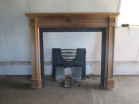 Wood Fire Surround with Cast Iron Insert