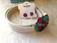 Desigual Designer belt & earring set