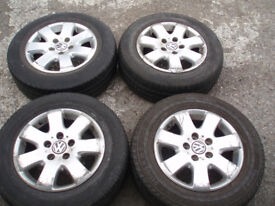 "Set Genuine alloy wheels VW T5 16"" Tyres 215/65/16C Postage available"