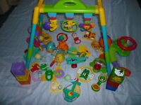 Baby Gym with collection of Baby Rattles + 2x Baby Buggy Attachments