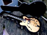epiphone by gibson Sherato - with bigsby - rare 80s model- with fitted hardcase