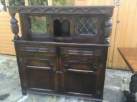 ANTIQUE SOLID OAK BUFFET COUNTER SIDEBOARD (+matching table)