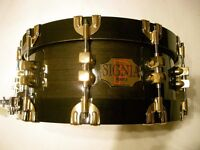 Signia by Premier 75th Anniversary maple-ply snare drum - Leicester - 1997- Ebony Lacquer - RARE