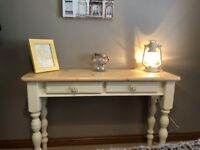 HAND PAINTED FURNITURE - LARGE SOLID PINE CONSOLE HALL TABLE - CREAM