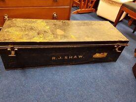 "Large Metal Storage Box with ""R.J.Shaw"" printed"