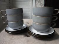 DENBY set of large coffee/tea cups & saucers - grey/black Jet , RRP £130