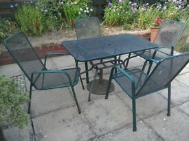 Garden table and 4 garden chairs