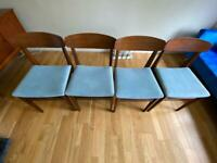 4x mid century modern blue wooden dining chairs