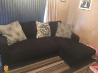 L shaped sofa chair and pouffee for sale £400