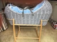 Moses basket with rocking stand and mattress 30 for quick sale no offers