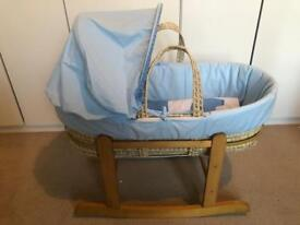 Baby Boy Moses Basket/Extras