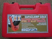 Wheel clamp - SAS Supaclamp GOLD - for Steel or Alloy wheels - boxed and good condition