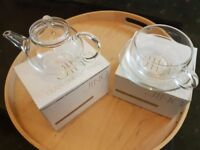 Jing glass teapot, cup & saucer, brand new, still in original boxes