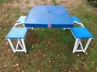 4-Seater Portable Picnic Set Metal Folding Table Camper Outdoor Travel Furniture