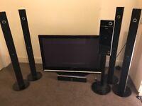 Samsung 50in plasma tv with surround sound home cinema system