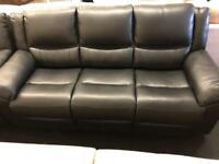 Black leather 3 + 2 seater sofa