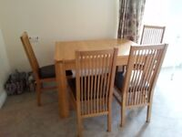 John Lewis 'Nevada' oak extending table and 4 slatted back chairs with leather seats
