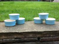 SET OF 10 CERMER POTS & CO BLUE ORANGE & PINK RAMEKINS 9 CM