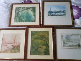 Various paintings, all framed