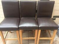 3x faux brown leather bar/ breakfast stools