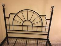 Black cast double bed frame