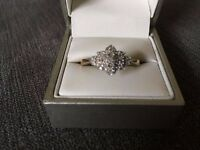 Beautiful diamond cluster gold ring, size S, immaculate condition, pick up only. Have a look