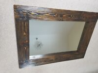 New Massive HANDCRAFTED Chunky Rustic Farmhouse Wooden Mirror 117cm x 94cm