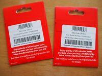 2 SIM CARDS VODAFONE 10 POUNDS EACH