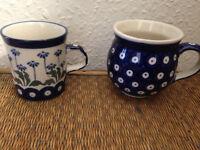 2 Small Polish Pottery Cups/Mugs