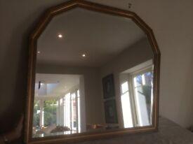 Over mantle mirror, gilt edged 100cm x 90cm