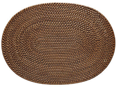 Laguna Handwoven Oval Rattan Placemat, 17.5 x 12.5 inches, Set 2, Honey Brown