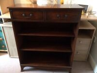 Antique reproduction mahogany bookcase, w76 cm, d 28 cm and h 92 cm good condition. Buyer collects