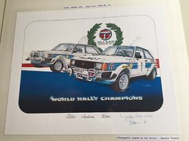 Vintage signed Rally Car print in colour