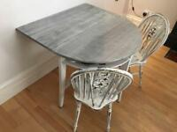 Shabby chic foldable dining table and chairs