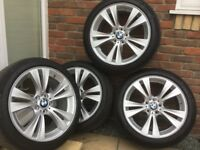 "BMW X3 Staggered 19"" rims, run flats RSC used."