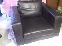 Ikea black leather swivell armchair