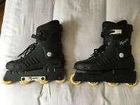 Mens Size 9-10 Psycho Black Roller Blades with FREE Wrist/Elbow/Knee Pads
