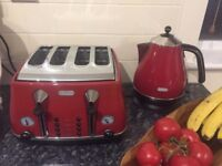 De'Longhi Icona Toaster 4 Slice Red, Delonghi Icona Red Kettle