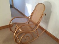 Lovely Bentwood and Rattan Rocking Chair