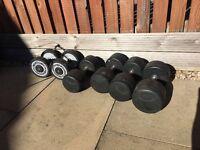 Various Bodymax Dumbbells (16kgs, 22.5 kg, 25 kgs, 30 kg- some damaged)