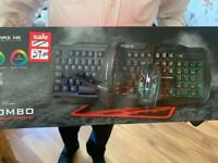 Keyboard, mouse, mouse pad, headset