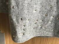 Pure Cashmere Grey Large Scarf with Swarovski Crystals Cost £200 BNWOT