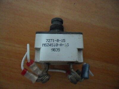 Miniature Aircraft Klixon 7271 Push Pull Circuit Breaker 7271-8-15 Ms24510-a-15