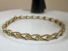 Vintage 18ct Solid Yellow Gold Diamond Tennis Bracelet 12 Grams with Valuation