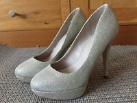 NEW! Next Gold Sparkly Platform Ladies Shoes. Size 5 Wide Fit. Cost £30. Collect Totton