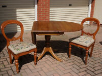 Victorian pine table and 2 ballon back chairs