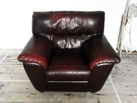 Genuine Leather, Excellent Condition, Maroon Two Seater and Arm Chair