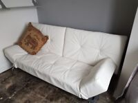White Faux Leather Sofabed