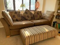 3-4 Seater Settee, Footstall & Cushions