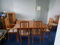 Selling this table with 6 chairs and cabinet for my parents, still in good condition. Open to offers